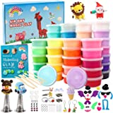 HOLICOLOR Modeling Clay Kit Air Dry Magic Clay 50 Colors Includes Extra 1 White and 1 Black Kids Art Craft Kit with…