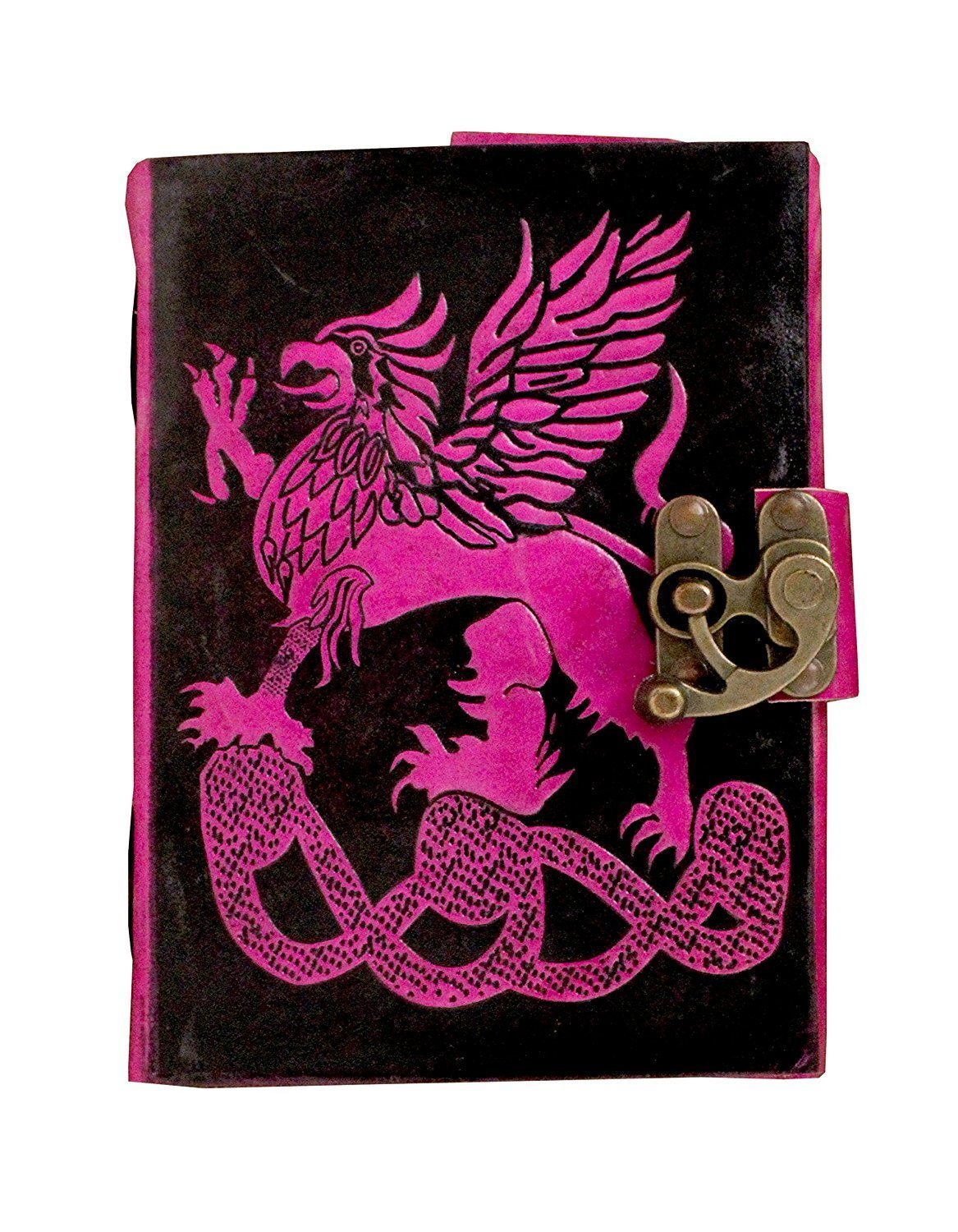 TUZECH Pure Genuine Real Vintage Hunter Leather Handmade paper Notebook Diary For office Home to Write Poem Daily Update With attractive Metal Lock and Engraved Dragon 7 Inches (Pink)