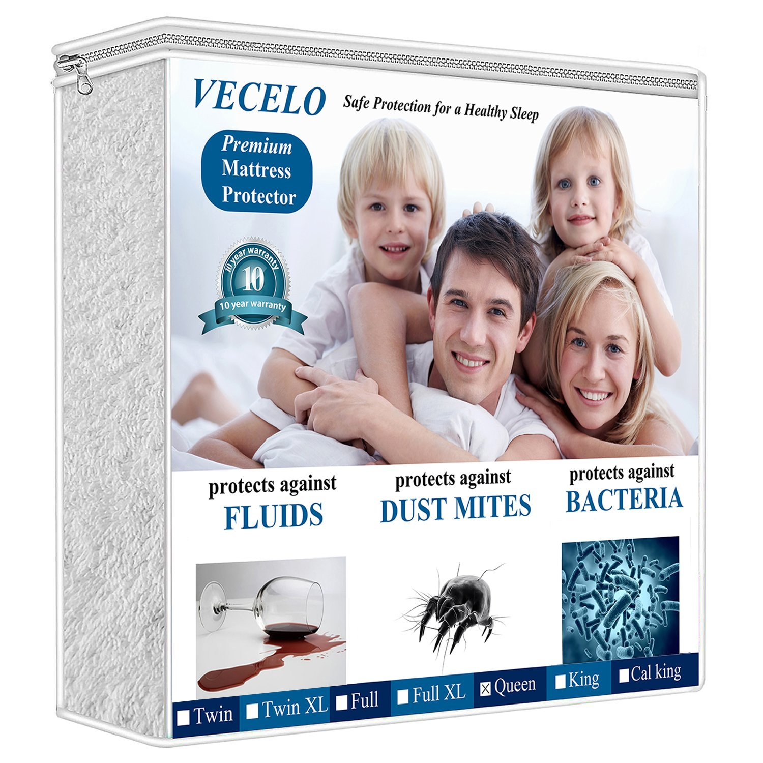 Amazon Com Vecelo 4 Layers Reinforced Waterproof Mattress Protector