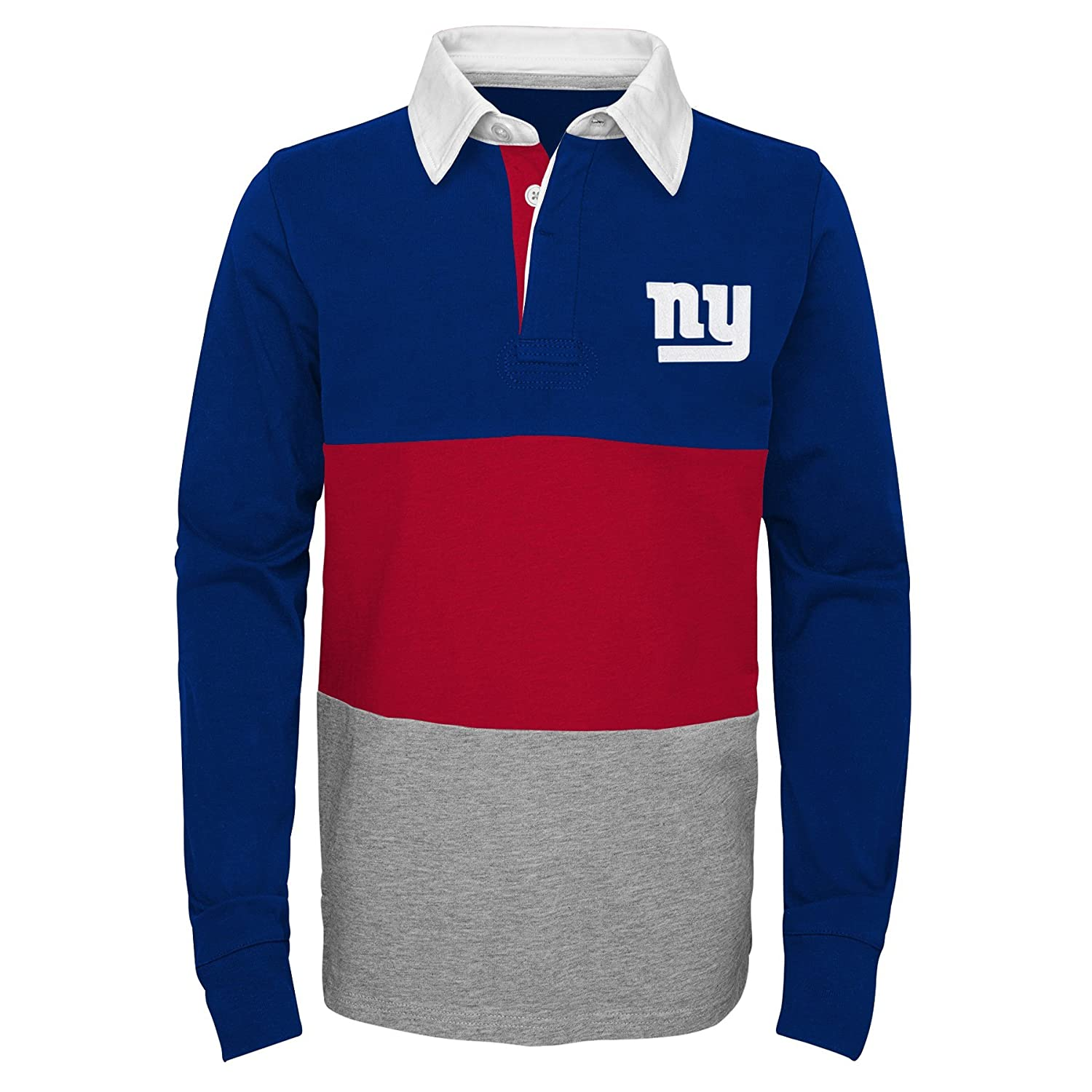 14-16 Outerstuff NFL New York Giants Youth Boys State of Mind Long Sleeve Rugby Top Dark Royal Youth Large