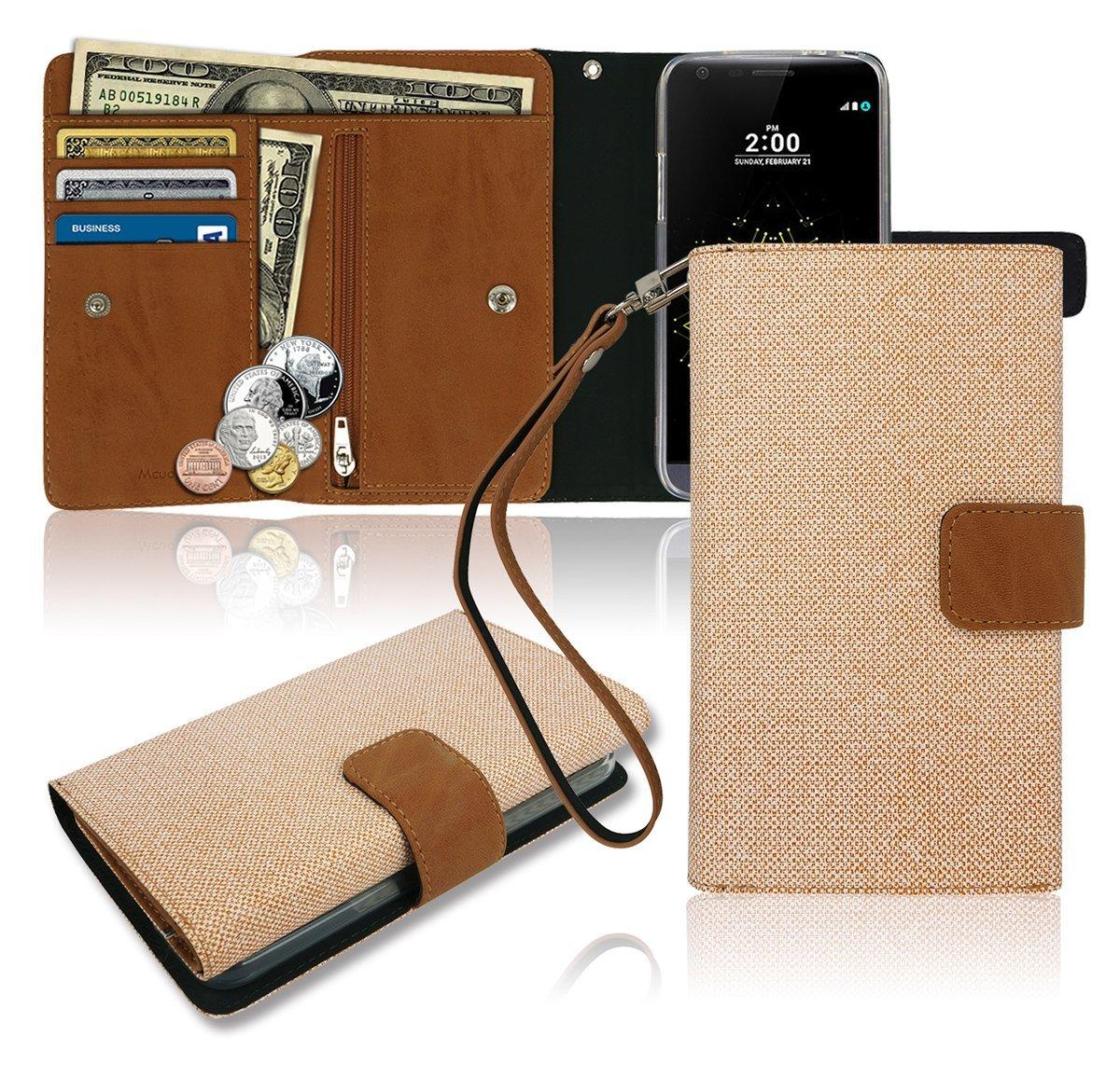 3a7fab2e6d4f Galleon - LG G5 Wallet Case, Zipper [3 Credit Card / Id / Cash ...