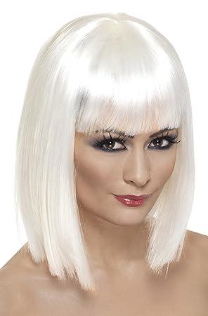 Smiffys Peluca glamurosa, blanco, corta, despuntada con flequillo