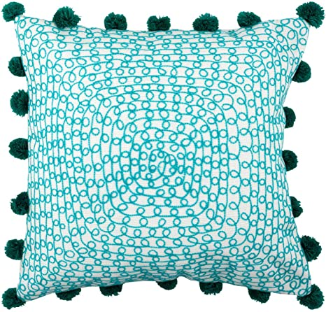 Divine Home Embroidered Infinity Loops Outdoor Pillow Aqua Blue 17 Sq With Pompoms Home Kitchen