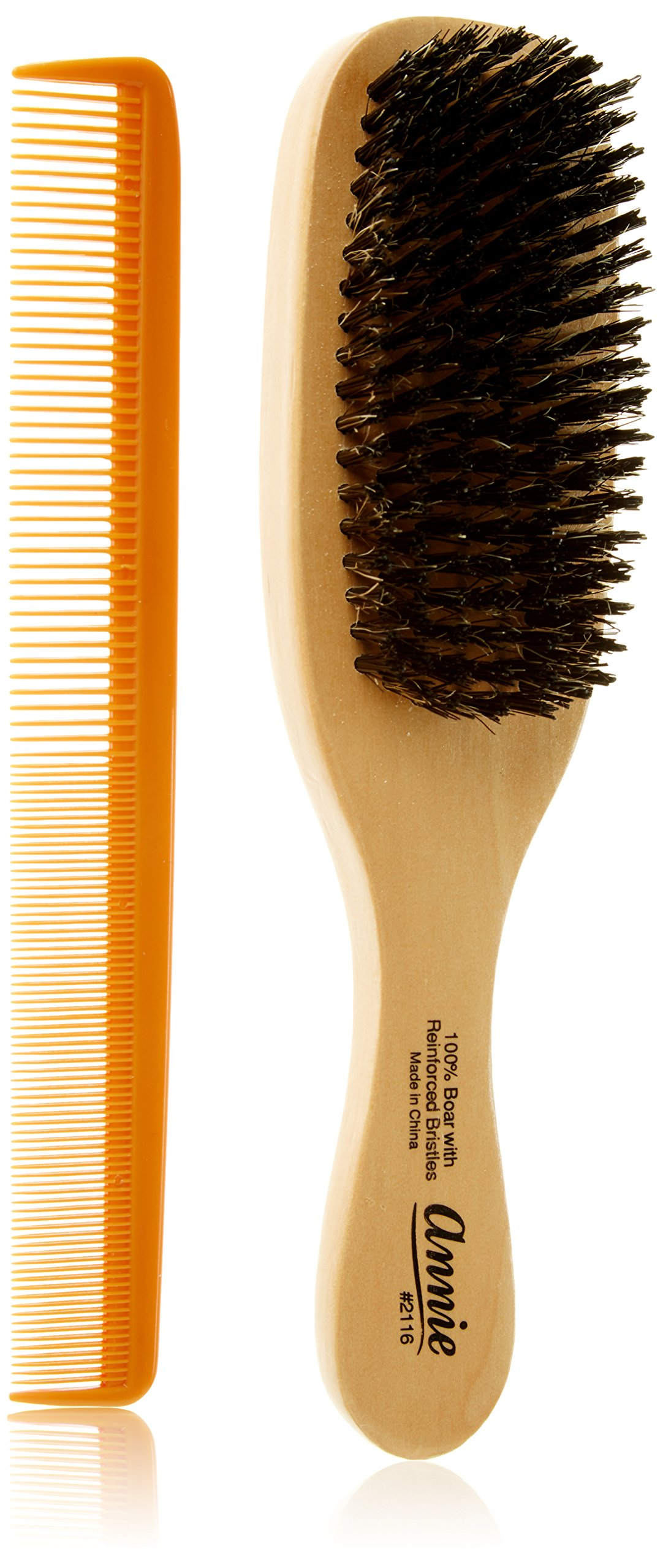 Wave Hair Brush HARD Boar Bristle with Styling Comb by Annie