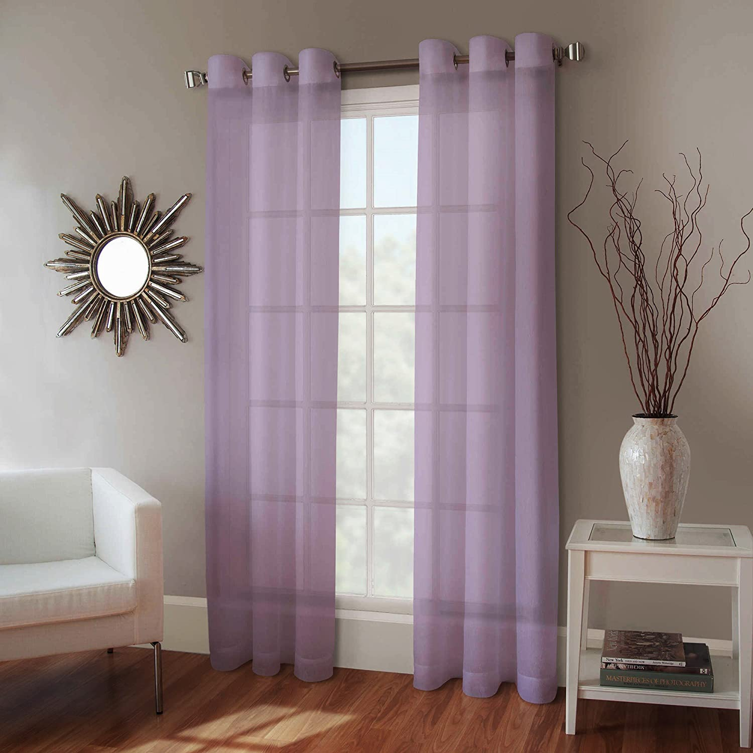 "Gorgeous Home 1 Faux Silk Window Curtain Panel Width 55"" X 63"" Length Solid Light Purple Includes 8 Bronze Grommets"