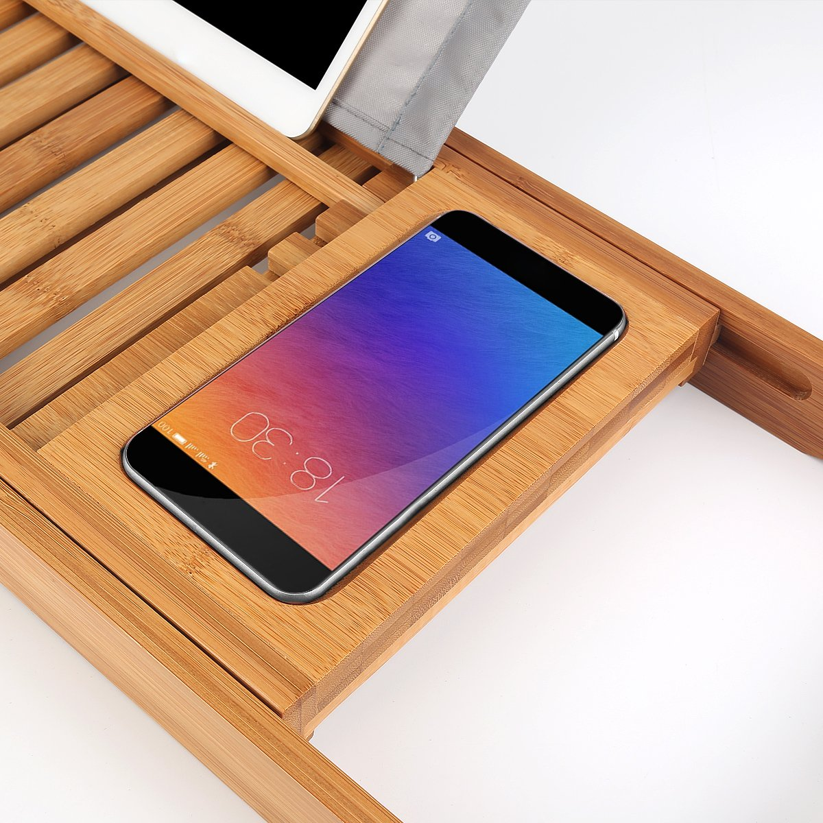 Bathtub Tray oobest Bamboo Bathtub Caddy Tray with Extending Sides Adjustable book holder with Premium Luxury Tray Organizer for Phone and Wineglass (Natural Bamboo Color) by oobest (Image #7)