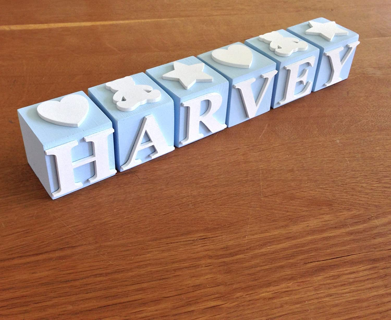 Personalised Baby name blocks - Blue PLEASE NOTE: The price is £ 4.50 per letter block and not per name