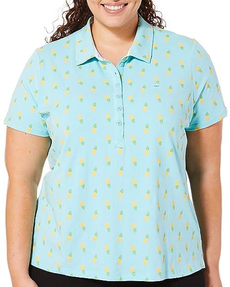 e7392bee3a7 Gloria Vanderbilt Plus Annie Pineapple Print Polo Shirt 1X Aqua Mist  Blue Yellow