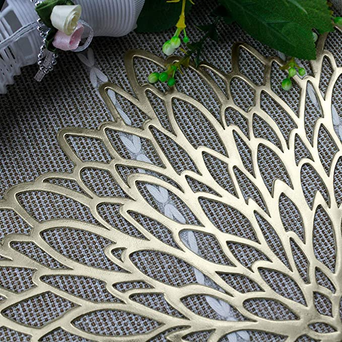 Adasbridal Gold Round Placemats For Dinner Table Set Of 6 Hollow Out Vinyl Place Mats For Kitchen Table Decor Wedding Accent Centerpiece Heat Resistance Washable Pvc Non Slip Table Mats Amazon Ca Home Kitchen