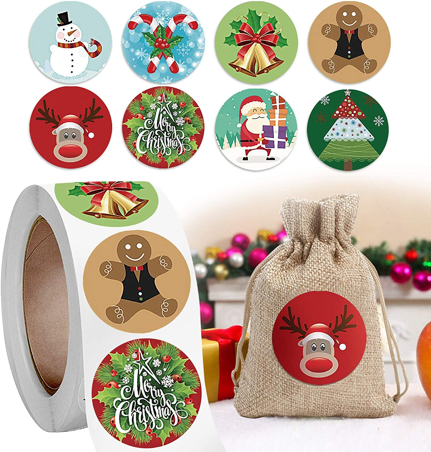 Gxhong Merry Christmas Stickers Labels Roll Christmas Holiday Round Adhesive Labels Sticker for Cards Present Craft Candy Envelopes Boxes Bag Sealing Xmas Party Decorations Supplies
