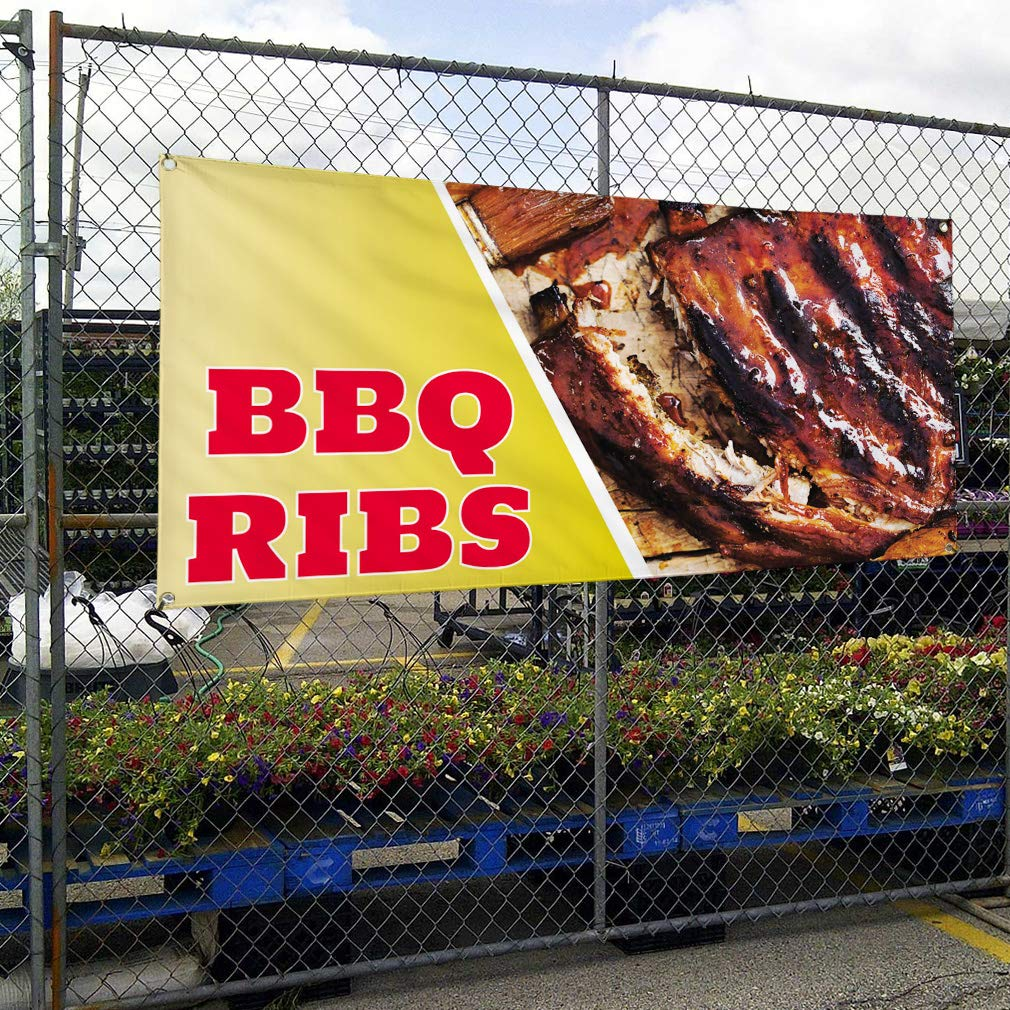Amazon.com: Vinyl Banner Sign BBQ Ribs #1 Style G Restaurant ...