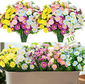 10 Pack Daisies Artificial Flowers, Fake Colorful Daisy Plant Bouquet for Outdoor Home Table Centerpieces Decoration, Faux Plastic Flower for Hanging Garden Porch Window Box Décor (Multi-Color)