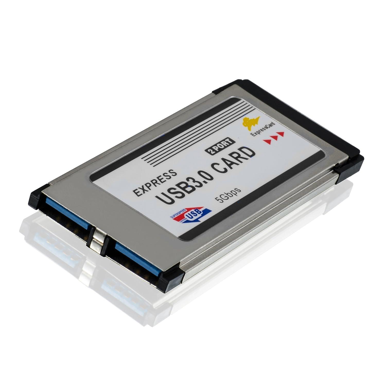 spezifiziertes Modell CSL-Computer USB 3.0 Super Speed PCMCIA Express Card Karte 34mm 2 Port Windows 10 kompatibel f/ür Notebook Laptop USB Hub intern