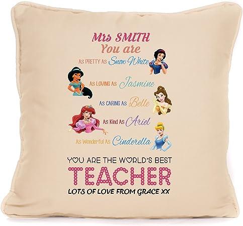 Cojín ribeteado con almohadilla incluida, regalo de fin de curso personalizado para el profesor a decir gracias, 45,7 x 45,7 cm: Amazon.es: Hogar