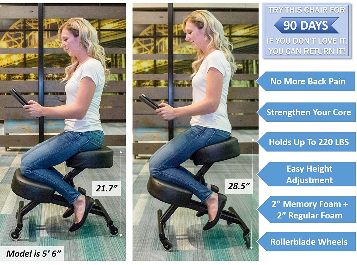 "Sleekform Kneeling Chair for Perfect Posture | Ergonomic Knee Stool Relieving Back & Neck Pain | Rollerblade Wheels & Adjustable Height for Office & Home | 4"" Soft & Comfortable Memory Foam Cushions"