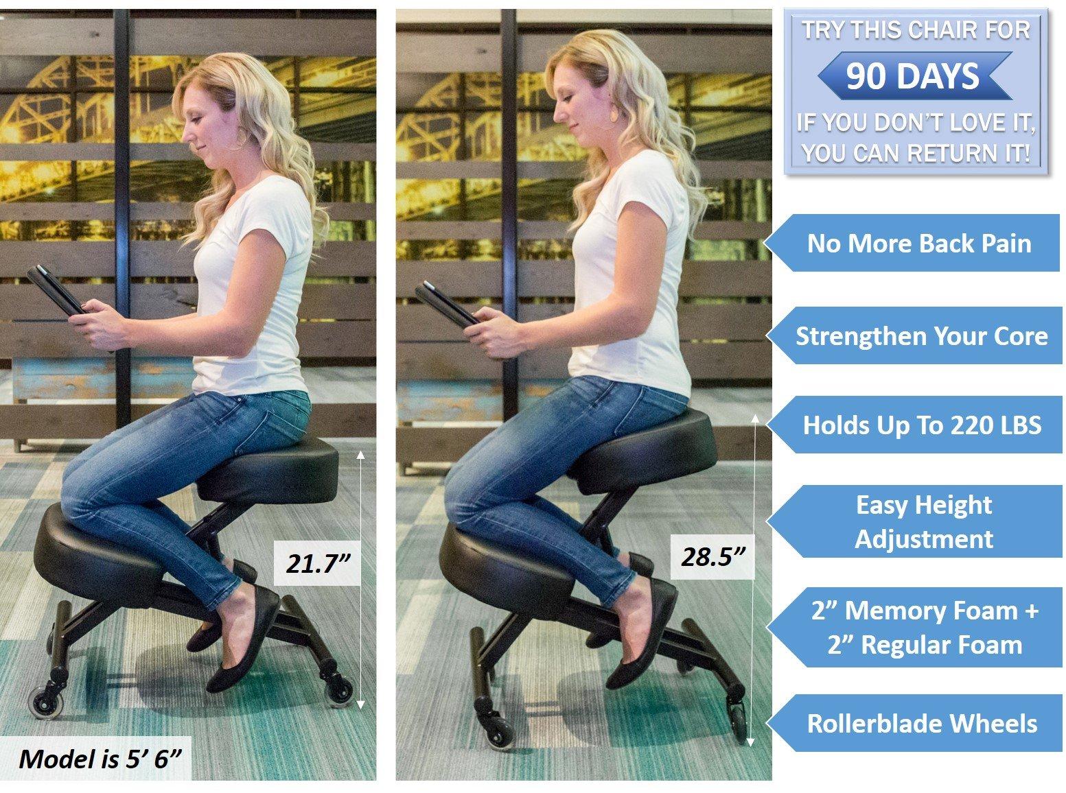 Sleekform Ergonomic Kneeling Chair M2 (Memory/Regular Foam), Adjustable Stool for Home, Office, and Meditation by Sleekform (Image #4)