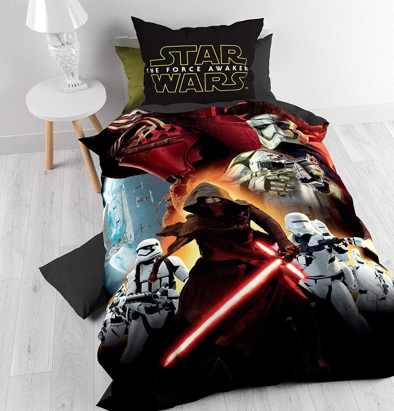 con 1 Funda De Almohada 60cm x 70cm 140cm x 200cm Disney Funda n/órdica Star Wars Epic 7 Total Negro