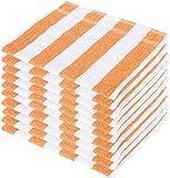 SHAMBHAVI 300 GSM Cotton Hand Towel Set (Orange and White) - 10 Piece