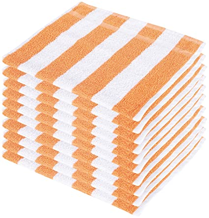 SHAMBHAVI 300 GSM Cotton Hand Towel Set (Orange and White) - 10 Piece