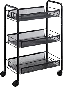 JANE EYRE 3-Tier Rolling Utility Storage Rack Cart on Wheels, Trolley Craft cart, Multi-Purpose Organizer Shelf, Black