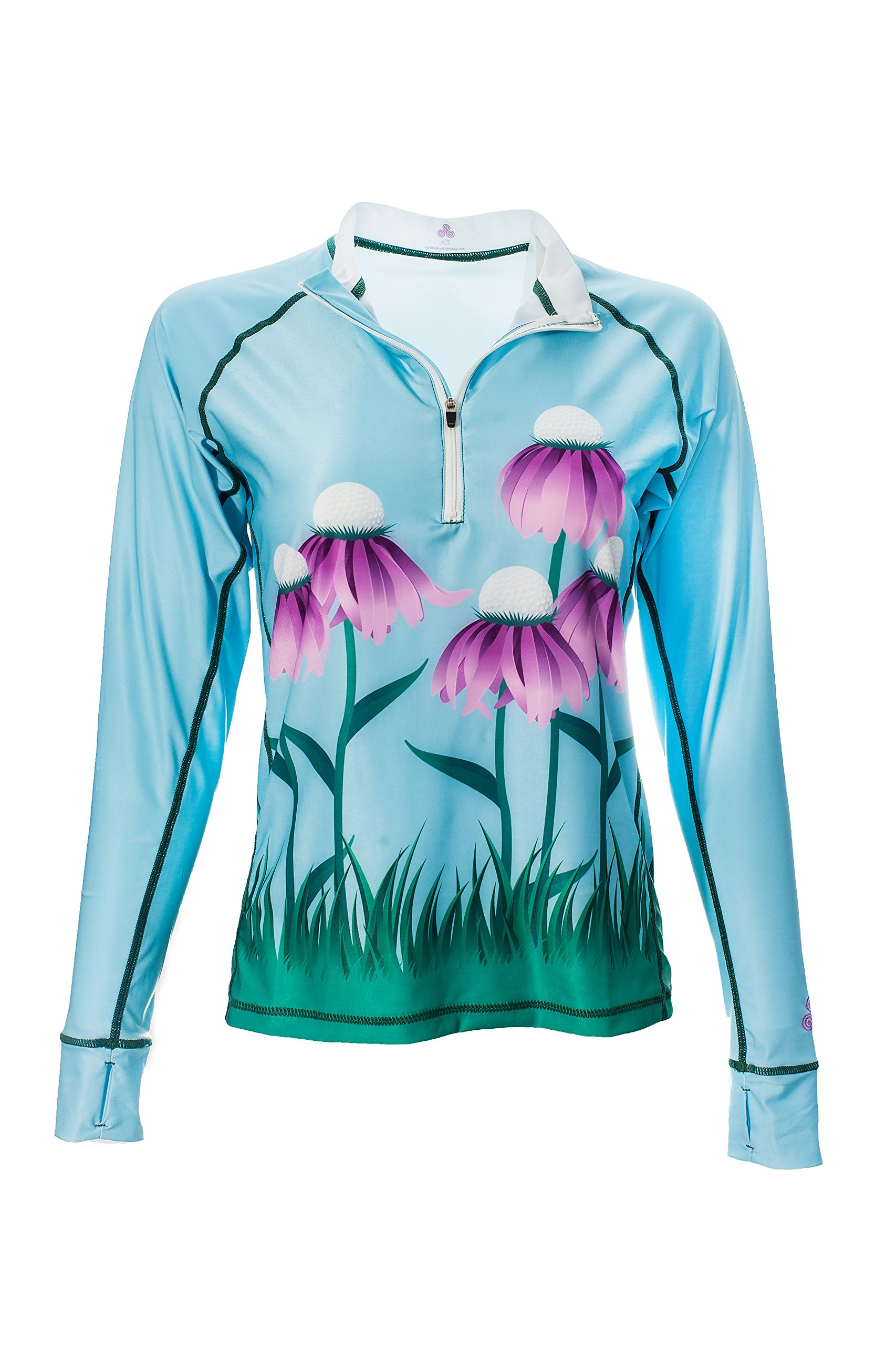 Bold Babe Women's Sun Protective Zip Neck Golf Shirt - SPF Clothing Perfect for Enjoying The Outdoors - Flower Power (Medium)