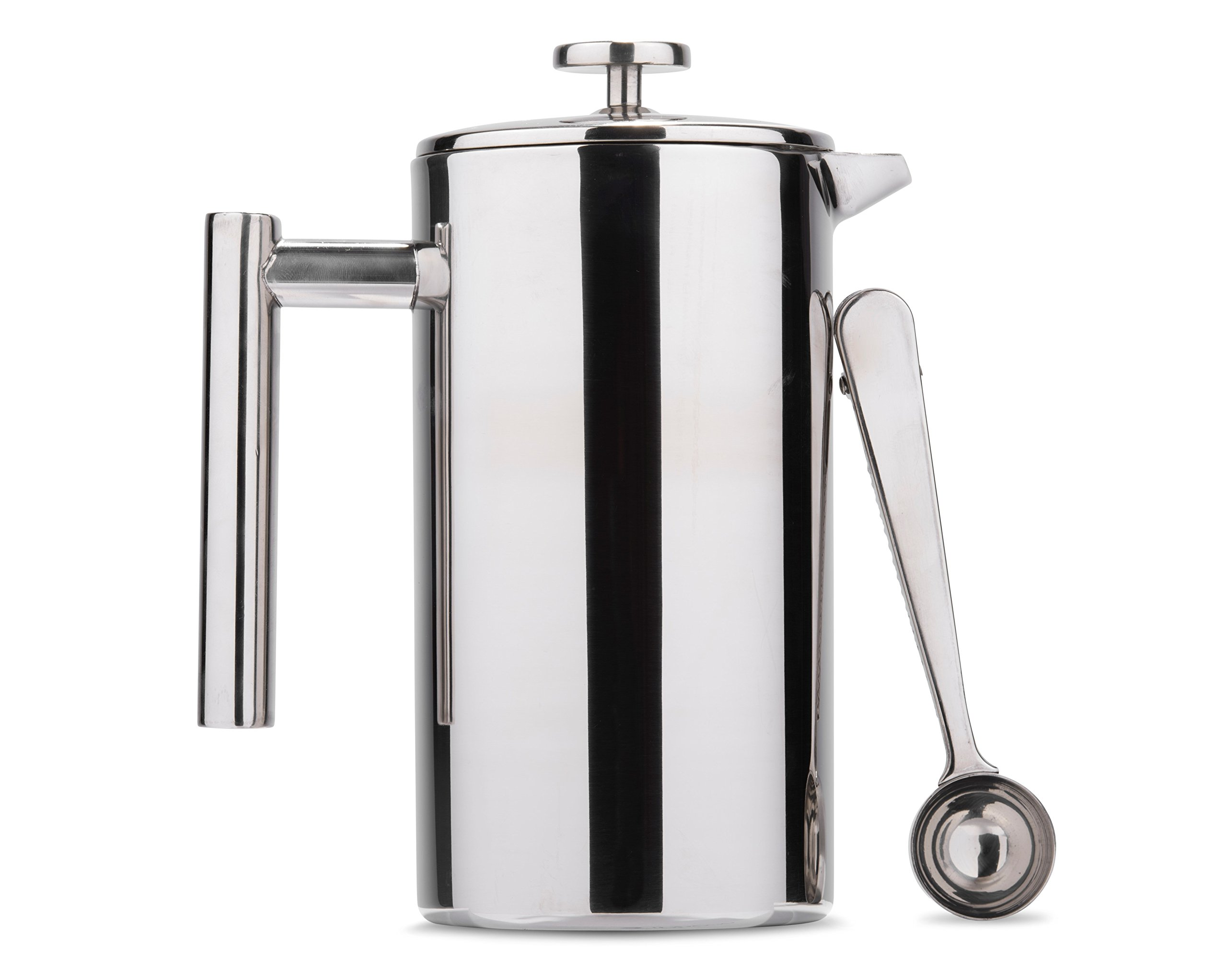 Es Perto Stainless Steel French Press Coffee Maker | 34 Ounce, Double Wall Insulated, Manual, Portable, Chrome Finish