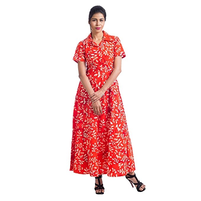 36e4c0ddb Mamosa Orange Cotton Printed Half Sleeve gown for latest design redymade    stitched Maxi dress for Women for party wear ...