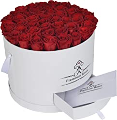 Real Roses That Last 365 Days| Premium Roses Collections| Valentine's Day| Anniversary| Roses in Box| Roses with Longevity| Wedding Arrangement| Luxury Flowers| Flowers in Box (Large, White Box)