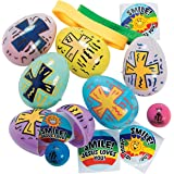 Religious Toy Filled Easter Eggs (24 eggs with filler) Religious Easter Hunt and Party Supplies