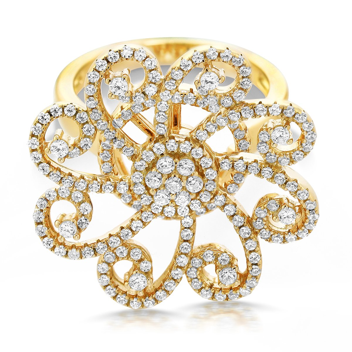 18K Yellow Gold Plated Silver White Cubic Zirconia CZ Spinning Art Deco Roulette Wheel Cocktail Ring (Size 6)