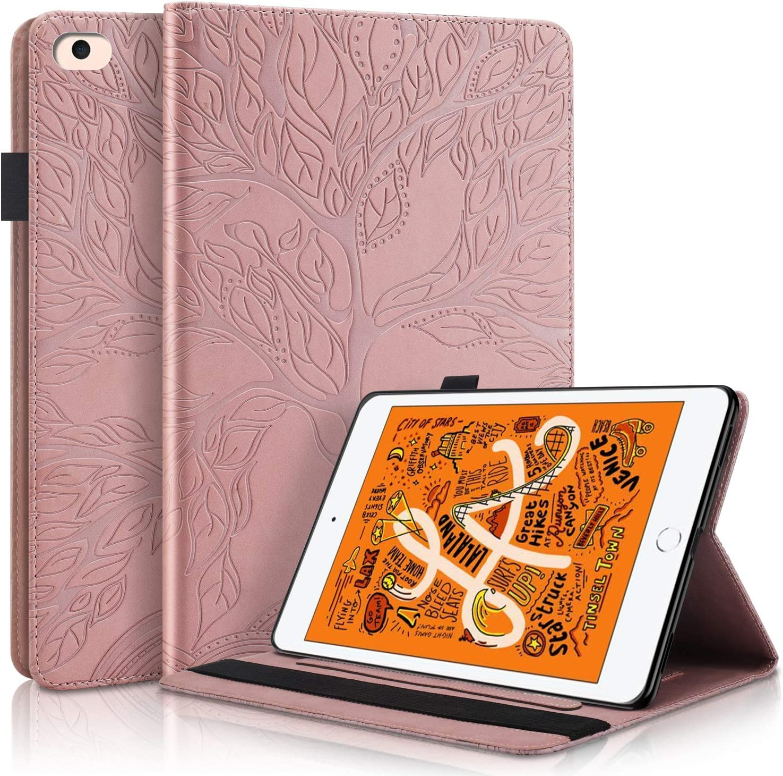 Pefcase iPad Mini 6 Case, iPad Mini 1/2/3/4/5th Generation Cover, Multi-Angle Viewing Folio Smart PU Leather Cover with Auto Sleep/Wake for Apple iPad Mini 7.9 inch Life Tree - Rose Gold