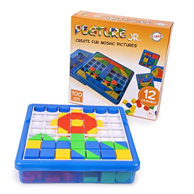 Playkidiz Pegture Jr. Set with 100 Larger Pieces + 12 Design Cards. Mosaic Puzzle Toy Set, Creative Skills Development, Educational Learning Toys for Kid. Great Gift for Boys & Girls.: Toys & Games