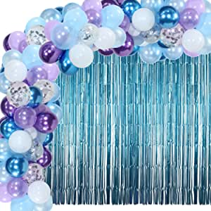 110 Pieces Winter Balloons Garland Arch Snowflake Confetti Balloons with 2 Metallic Tinsel Foil Fringe Curtains Winter Party Decoration Supplies for Frozen Themed Birthdays Party, Baby Showers
