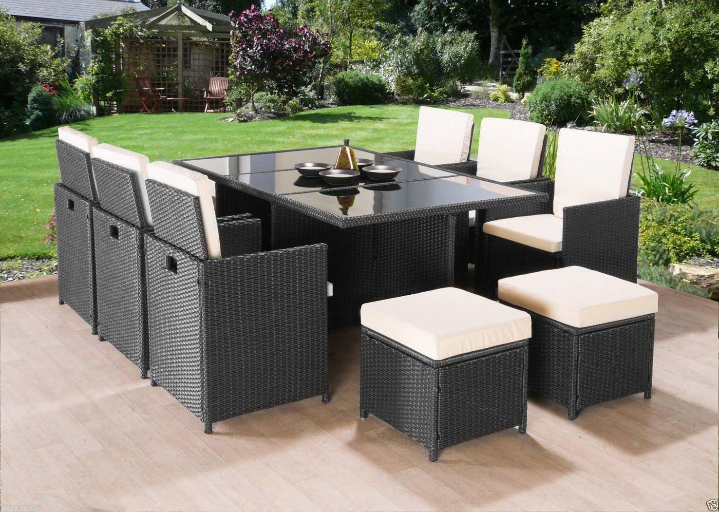 Cubo sofá Sillas de muebles de jardín Conjunto de comedor de ratán mesa para exteriores mimbre 10 asientos 11pieza Negro o Marrón, negro: Amazon.es: Jardín