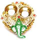 India Get Shopping Handmade Golden Metal Lord Ganesha Haldi Kumkum Holder for Home