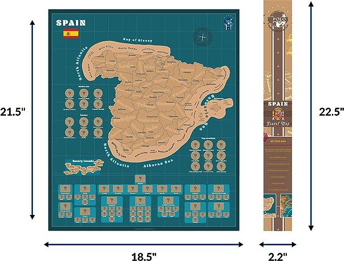 Póster del Mapa de España de Scratch para Viajes - Rastreador de Viaje Azul Profundo de 18.5