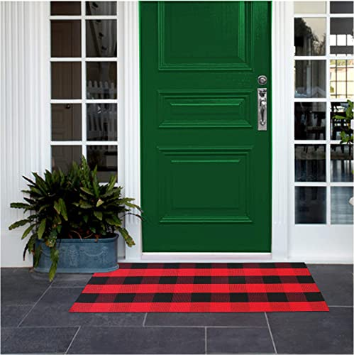 Red Outdoor Rug - Red Buffalo Plaid Rug, Buffalo Check, 2x3 23.6 x 35.4 , Red and Black Rug Includes 4PCS Rug Grippers. Red Kitchen Rug, Checkered Porch Rugs Door Mat
