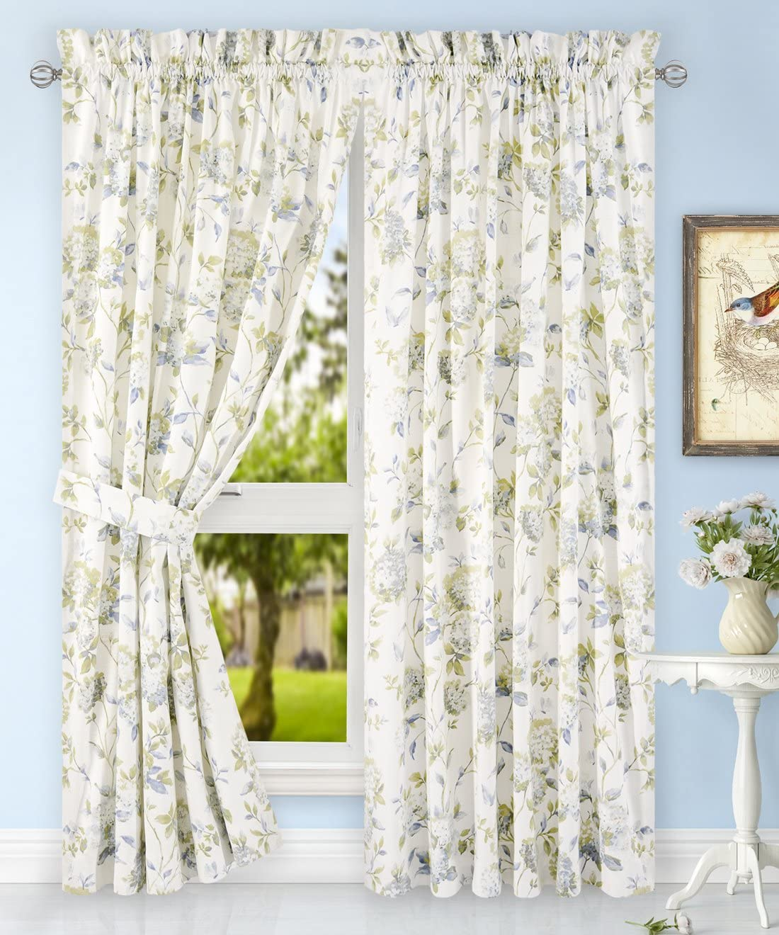 Simple Comfort Abigail Traditional Hydrangea Floral Print Tailored Panel Pair with Tiebacks, 90 x 84, Porcelain