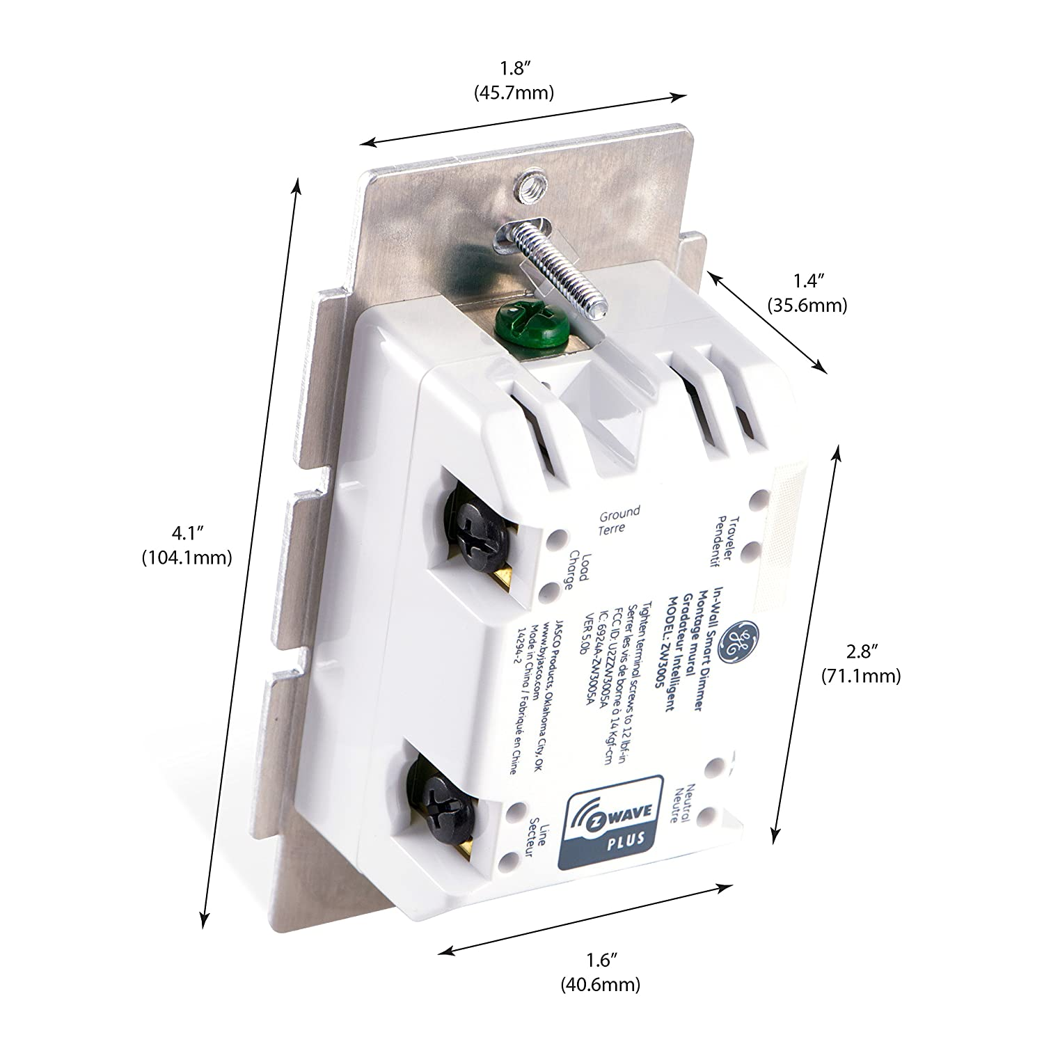Ge Z Wave Plus Wireless Smart Lighting Control Dimmer Switch In Automate Remote Start Wiring Diagram Wall Full Range Dimming Includes White Light Almond Paddles Hub Re Home