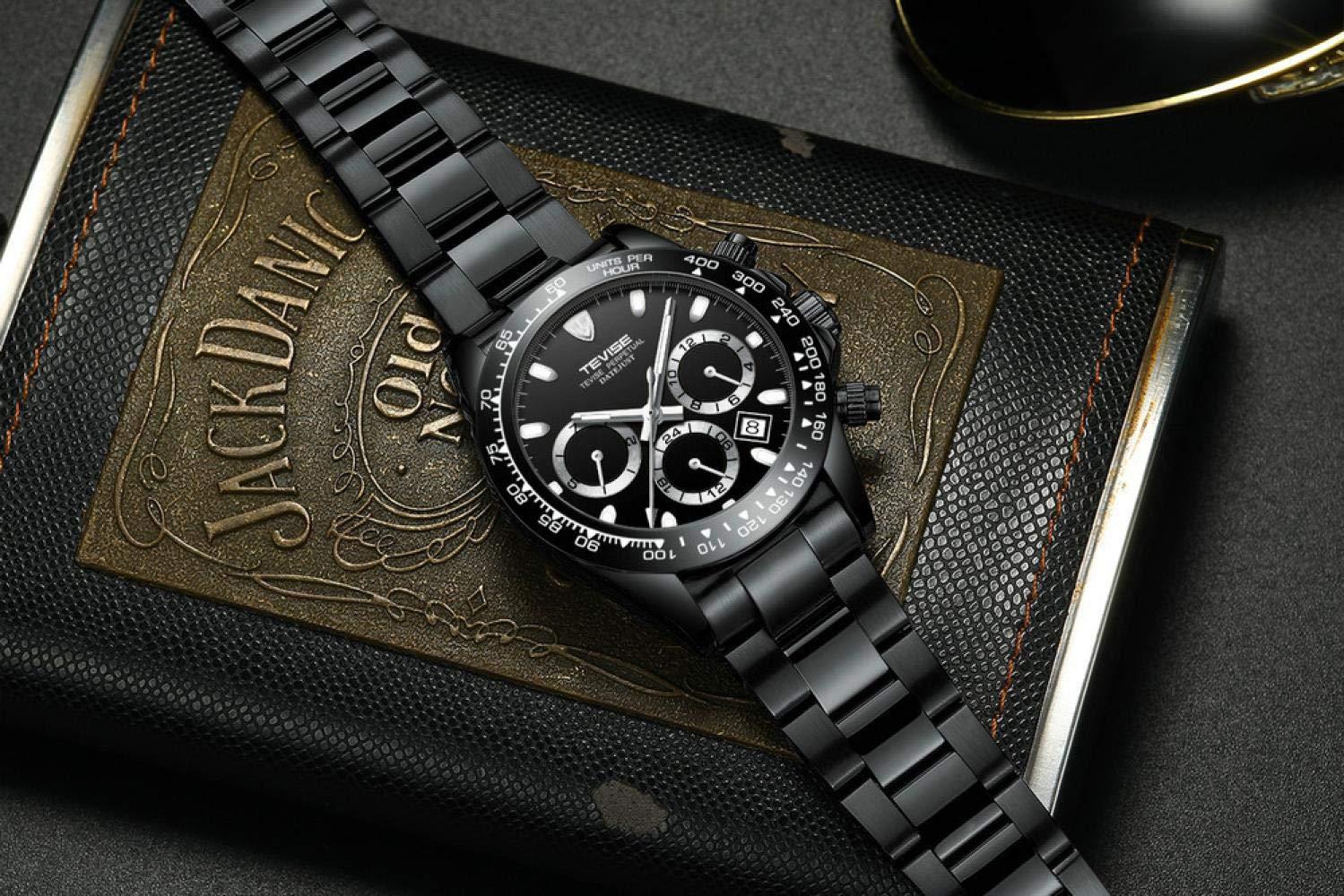 Herrklockor, mekanisk klocka automatisk datum liten tre stift display stålband armbandsur Helt svart