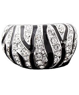 Claire Jin les rayures noir et blanc plaqué platine mode bague diamant de imitation bijoux époxy
