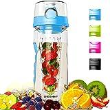 Degbit Wasserflasche, [BPA-freiem Tritan] Kunststoff Trinkflasche Sport, Flasche ca. 1L, Sportflasche Auslaufsicher, Trinkflaschen BPA Frei Infuser mit Verschluss & Tragehenkel, Wasserflasche