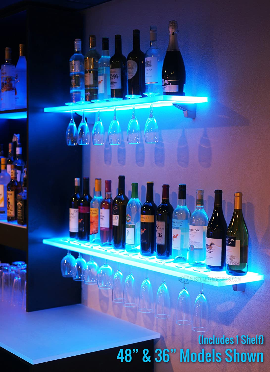 Amazon.com: 2u0027 LED Lighted Floating Bar Shelving With Integrated Wine Glass  Rack U0026 LED Controller: Kitchen U0026 Dining
