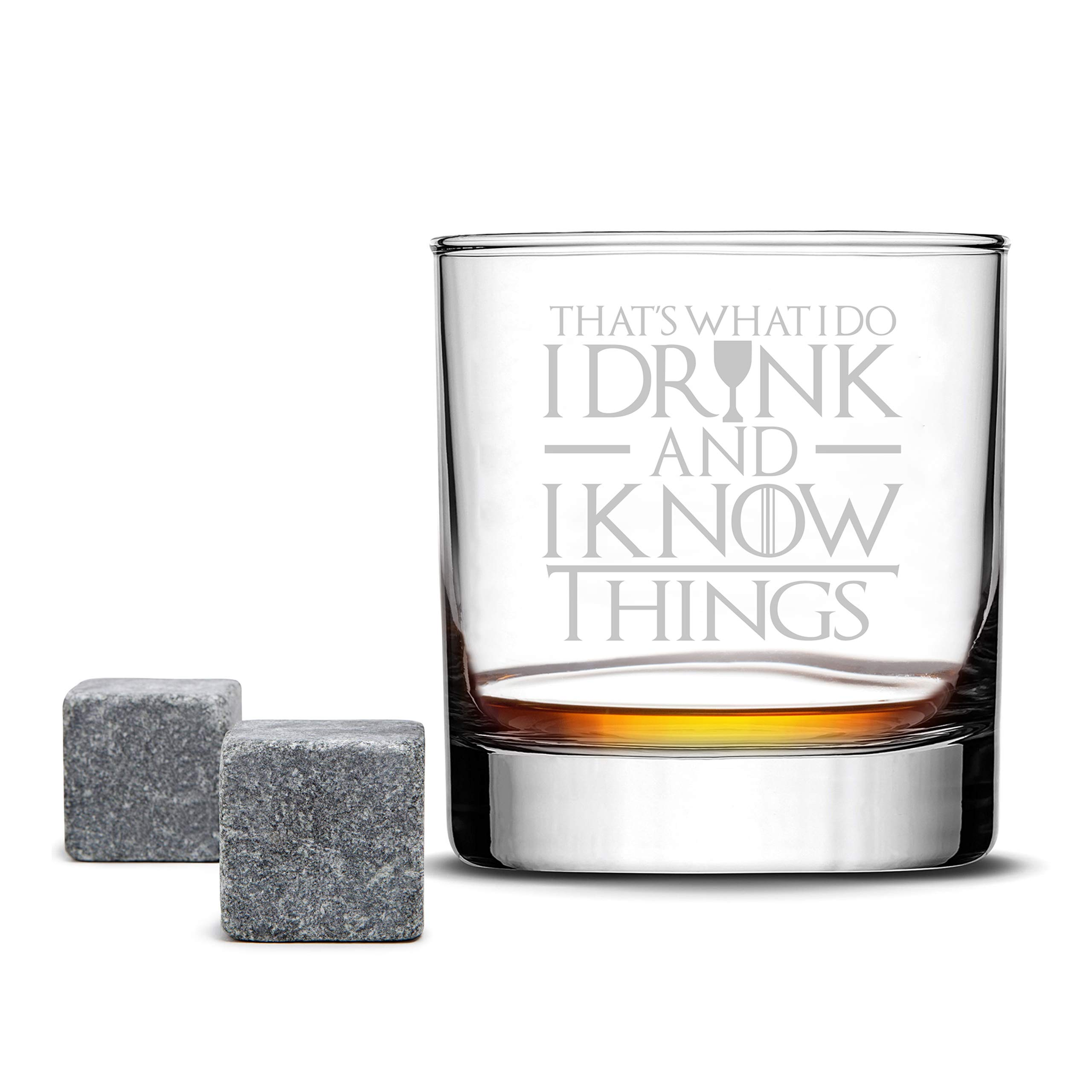 Highball Whiskey Glass - Game of Thrones - I Drink and I Know Things - Drinking Games Glasses for Dad Husband Brother Wife Boyfriend - 10 Oz glass by FOLE INC - Made in USA