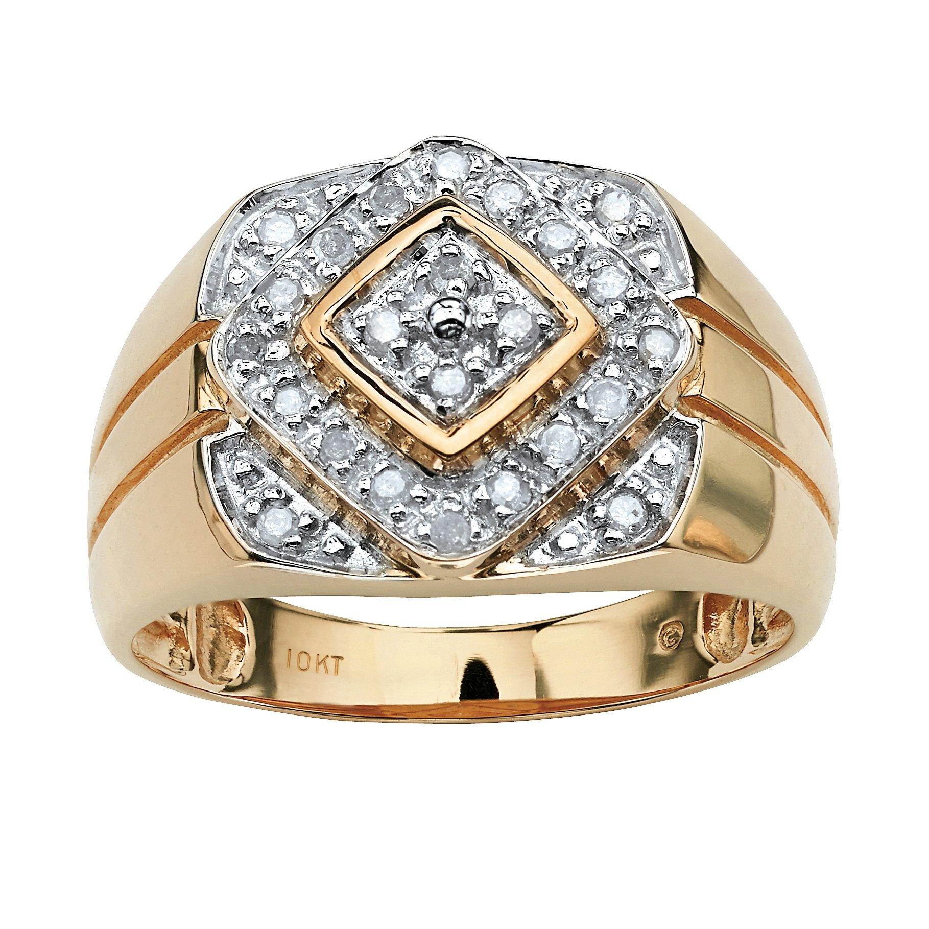 Men's Round White Diamond 10k Gold Geometric Ring (.26 cttw, HI Color, I3 Clarity)