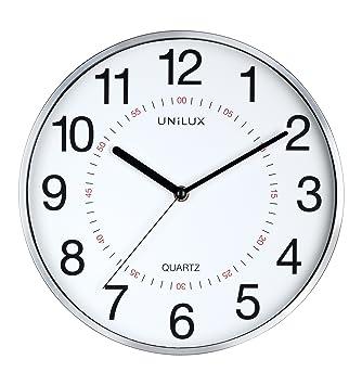 Unilux 400094280 pared Reloj Aria metallgrau Moderno Reloj de pared con segundero 30,5 cm Doble Hora Marcar: Amazon.es: Oficina y papelería