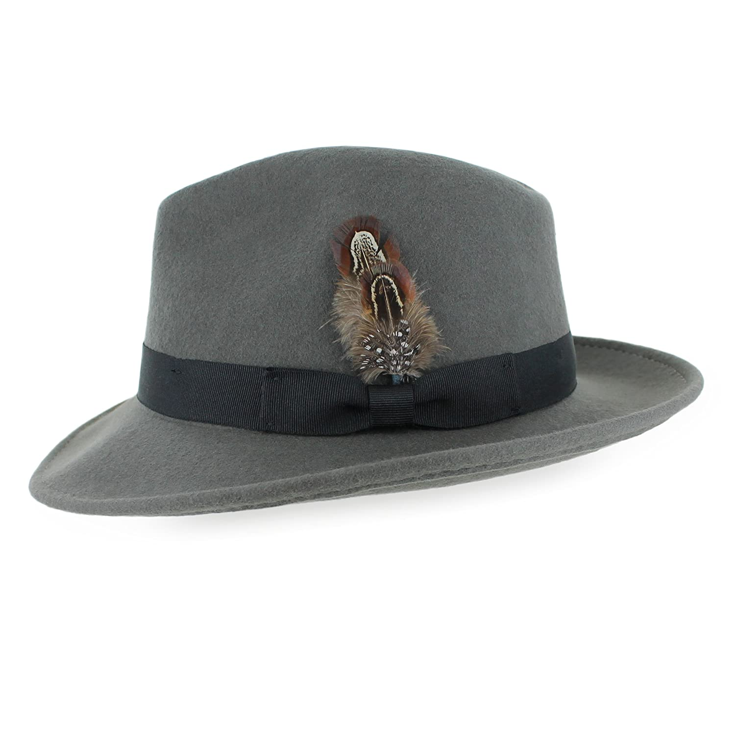 1940s Mens Hats | Fedora, Homburg, Pork Pie Hats Belfry Crushable Dress Fedora Mens Vintage Style Hat 100% Pure Wool in Black Blue Grey Pecan Brown and Striped Bands $39.95 AT vintagedancer.com