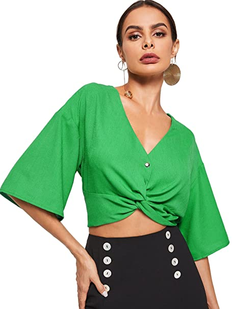 5658e6a9516 Floerns Women s Causal V Neck Button Front Twist Knot Crop Tops at Amazon Women s  Clothing store