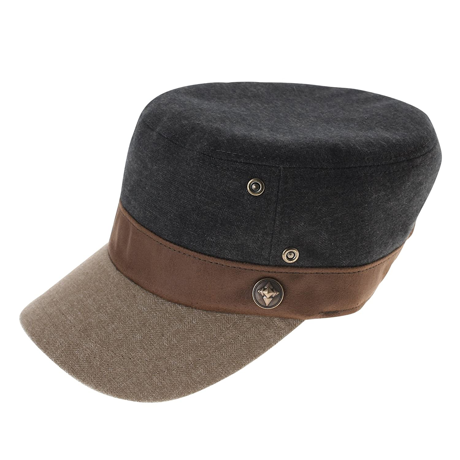 FLATSEVEN Mens Womens Designer Military Cap with Leather Band (Z109) Green   Amazon.co.uk  Clothing 69d210f901