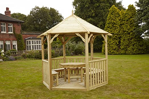 HGG Open Wooden Gazebo With Table And Benches